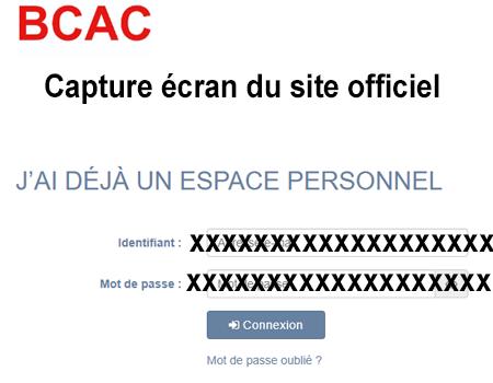 Connexion à mon espace personnel sur le site bcac gestion sante fr