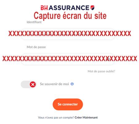 Connexion au compte client BH Assurances