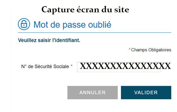 Récupération mot de passe CSS Assurance