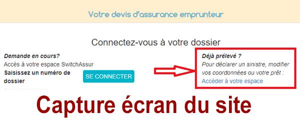 Accéder à mon compte client Switchassur en ligne.